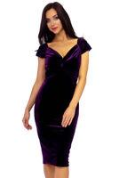 New Perfect Purple Womens Velvet Velour Bodycon Midi Pencil Bardot Dress 8-18