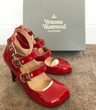 VIVIENNE WESTWOOD RED LEATHER ANIMAL TOE 3-STRAP COURT SHOES - US10.5/EUR41/UK8