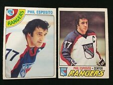 PHIL ESPOSITO O-PEE-CHEE 1977 & OPC 1978 NEW YORK RANGERS VINTAGE HOCKEY CARDS