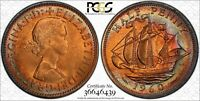 1960 GREAT BRITAIN 1/2 HALF PENNY PCGS MS65RB RAINBOW COLOR TONED COIN! WOW!!