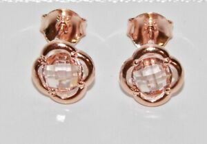 9ct Rose Gold on Silver Morganite Fancy Stud Earrings