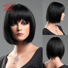 Damen Perücke Schwarz Haar Wig Weiblich Glatt Kurz Cosplay Kostüm Bob Kurzhaar