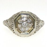 VTG Art Deco Antique Filigree 18K White Gold Mine Cut Diamond Ring Size 7 LFC2
