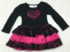 Amy Coe black lace hot pink satin tiered ruffled skirt designer dress 12 months