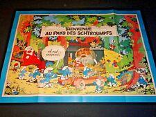 BIENVENUE AU PAYS DES SCHTROUMPFS affiche cinema peyo animation bd rare 1978