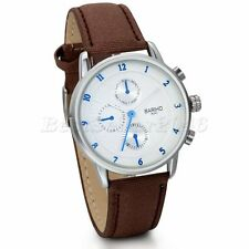 Mens Fashion Brown Leather Band Arabic Numerals Sport Analog Quartz Wrist Watch