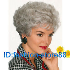 Ladies Wigs Women's Wavy fashion short Silver Grey Curly Natural Hair wig