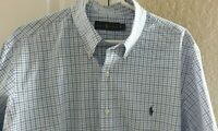 Men's POLO Ralph Lauren Button-Down Shirt Size XL Blue/White Plaid Blue Pony