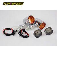 Chrome Motorcycle LED Turn Signals Blinker Amber Indicator Lights Aluminum