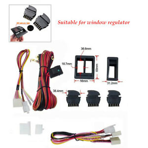 Car Electric Power Window Switch & 12V Complete Wire Harness Kits Universal