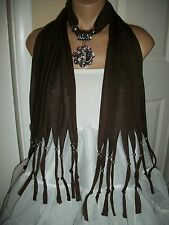 SCARF PENDANT NECKLACE  SHAWL WRAP SILVER TONE ROSE FLOWER BROWN COLOR JEWELRY