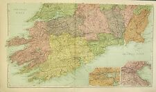 1912 LARGE ANTIQUE MAP ~ IRELAND SOUTHERN ~ ENVIRONSCORK DUBLIN