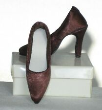 "Candi 16"" Fashion Doll Shoes BROWN SATIN PUMPS fit Tyler Ellowyne NEW"