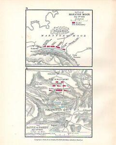 MAP/BATTLE PLAN MARSTON MOOR JUL 2ND 1644 & NASEBY 1645 TROOP POSITIONS