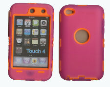Built in Screen Protector Case / Cover iPOD TOUCH 4 HOT PINK / ORANGE FreeStylus