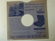 """78 rpm 10"""" inch card gramophone record sleeve , SYDNEY SCARBOROUGH , HULL"""