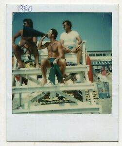 # 32 VINTAGE PHOTO POLAROID SWIMSUIT LIFEGUARDS ON THE BEACH SNAPSHOT GAY