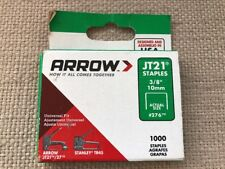 """ARROW STAPLES  JT21  3/8""""  10MM  #276  1000 COUNT BOX  MADE IN USA"""