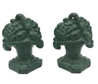 Antique Pair Vintage Flower Basket Bouquet Cast Iron Bookends Dark Green