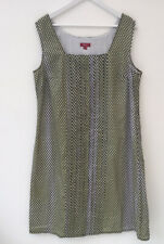 Monsoon Sz 18 Pintuck Cotton Shift Dress Dotty Spotted Sleeveless Lined Casual