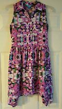 NANETTE LEPORE L'AMOUR Pink Purple Asymmetrical Layer Hem Dress WOMENS SZ XS