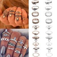 Retro 10Pcs/ Set Silver Gold Boho Fashion Arrow Moon Midi Finger Knuckle Rings!