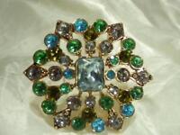 Liz Claiborne Signed Green Blue Rhinestone Brooch Vintage 1980's   395D8