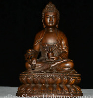 "7"" Old Chinese Boxwood Carving Seat Menla Medicine Buddha Medical God Statue"