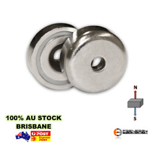 8X Heavy Duty 32mm 25kg Shallow Countersunk Pot Magnets | Magnetic Gate Latch