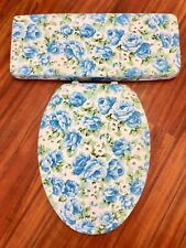 Vintage Retro Blue Rose Bathroom Decor Elongated Toilet Seat Lid Cover Set