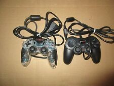 Lot of 2 Sony Play Station 2 Controllers PS2 Black and Clear Game Stop*