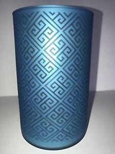 Yankee Candle  Hurricane Glass Jar Holder  Greek Isle  BLUE NEW