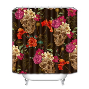 "71"" Death Beautiful Skull Flowers Shower Curtain Liner Waterproof Bath Mat Hooks"