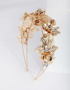 Stunning Lovisa Gold Flower Leaf Pearl & Diamante Metal Headband rrp $49.99