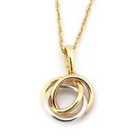 14k Yellow White & Rose Gold Tri-Color Small Love Knot Pendant Necklace