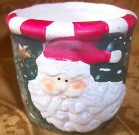 "Collectible Ceramic  ""Santa"" Candle Holder- 2.25""H x 2"" X 2"""