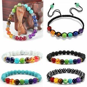 7 Chakra Healing Balance Beaded Bracelet Lava Yoga Reiki Prayer Stone Bangle Lot