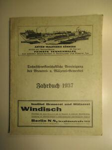 Jahrbuch 1937 Technisch wissenschaftliche Vereinigung Brauerei Mälzerei Gewerbes
