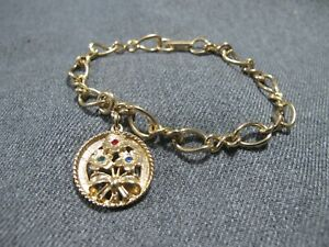 Vintage Sarah Coventry rhinestones flowers bouquet goldtone charm chain bracelet