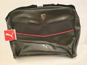 Puma Ferrari LS Reporter Pebbled Adjustable Strap Black Messenger Laptop Bag
