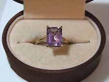 UK Hallmarked 9c Y Gold 375 Emerald Cut Amethyst sz 7 Solitaire Ring 10h 24