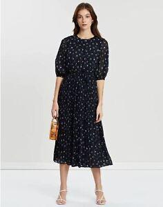 Mango M.N.G Navy Floral Empire-Waist Dress size S - New