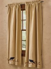 Primitive Crow Lined Panel Curtains 72WX63L Country Farmhouse Window