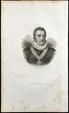 Retrato (1835) - Henri IV (Borbón) - Rey De Francia - Grabado