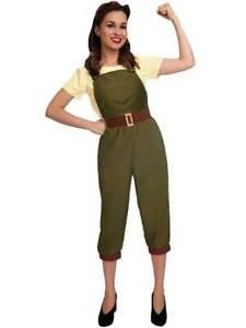 WW2 1940s Land Girl Womens Ladies World War 2 Fancy Dress Costume Size UK 8-18