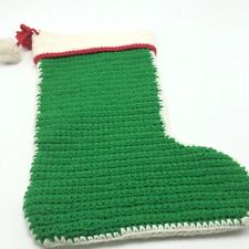 "Hand-Made Knit or Crochet 16"" Christmas Stocking Green w Pom Poms"
