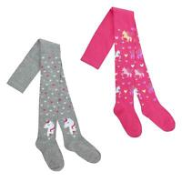 Girls 2 Pack of Cotton Rich Unicorn Tights with Glitter Thread ~ 2-8 Years