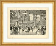 The charity bazaar in Flowers halls to Vienna Flea Market Wood Engraving M 627