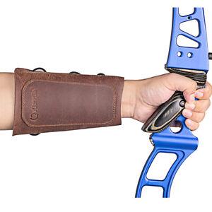 Brown Archery Double Leather Arm Guard Protector Gear Forearm Hunting Arrow Bow