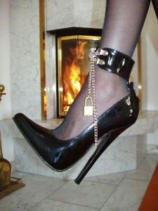 Extrem Stiletto Lack Pumps High-Heels Schwarz 41 MEGA Hoch Clubwear